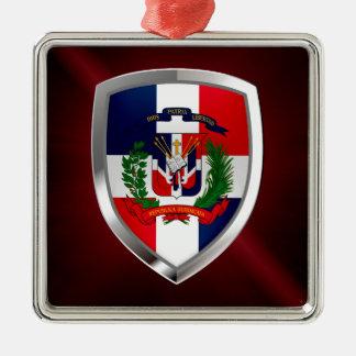 Het Embleem van Mettalic van de Dominicaanse Zilverkleurig Vierkant Ornament