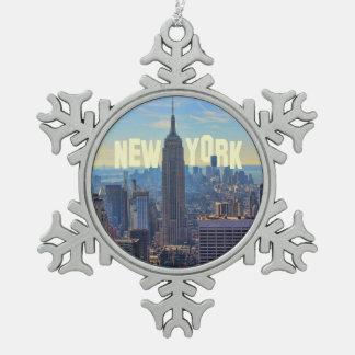Het Empire State Building van de Horizon NYC, Tin Sneeuwvlok Ornament