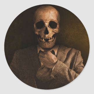 Het enge Man van de Schedel in Kostuum Ronde Stickers