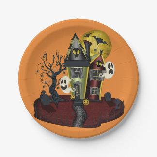 Het enge Spookhuis van Halloween met spook Papieren Bordje