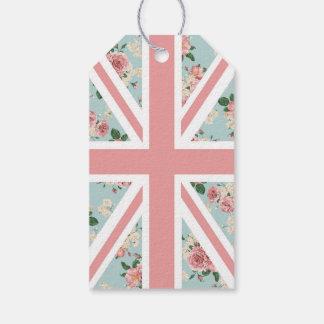 Het Engelse BloemenPatroon van Union Jack van Cadeaulabel