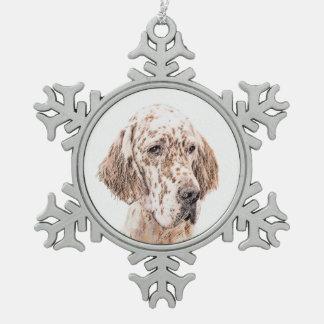 Het Engelse het Schilderen Belton van de Zetter Tin Sneeuwvlok Ornament