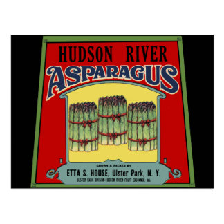 Het Etiket van de Asperge van de Rivier van Hudson Briefkaart