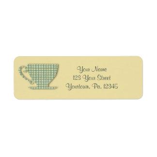 Het Etiket van het Adres van het theekopje