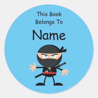 Het Etiket van het Boek van Ninja van de cartoon