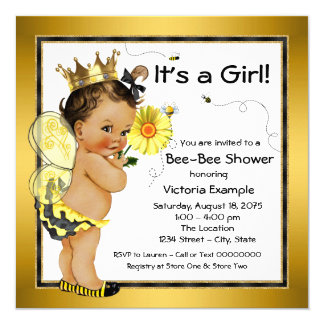 Het etnische Baby shower van de Bij van het Meisje 13,3x13,3 Vierkante Uitnodiging Kaart