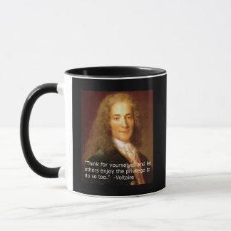 Het exemplaarcitaat die van Voltaire voor oneself Mok