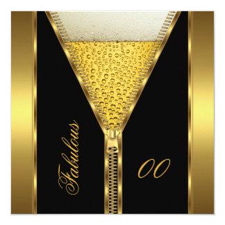 Het fabelachtige Gouden Bier van de Ritssluiting 13,3x13,3 Vierkante Uitnodiging Kaart