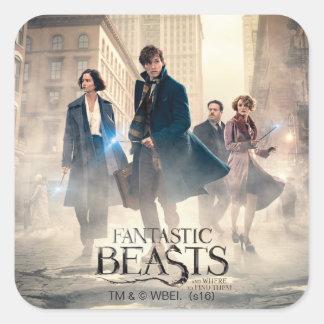 Het fantastische Poster van de Mist van de Stad Vierkante Sticker