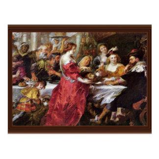 Het feest van Herododes door Rubens Peter Paul Briefkaart