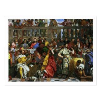Het feest van het Huwelijk in Cana, detail van Briefkaart