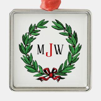 Het feestelijke Monogram van de Kroon van de Hulst Zilverkleurig Vierkant Ornament