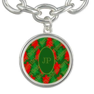 Het feestelijke Rode Gouden Groene Monogram van de Armbanden