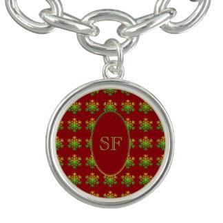 Het feestelijke Rode Groene Gouden Monogram van de Bedel Armband
