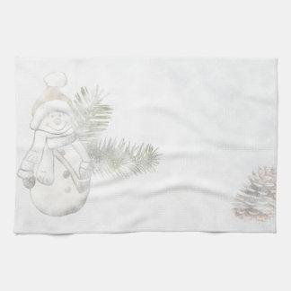 Het feestelijke Vakantie van de Sneeuwman Keukenhanddoek