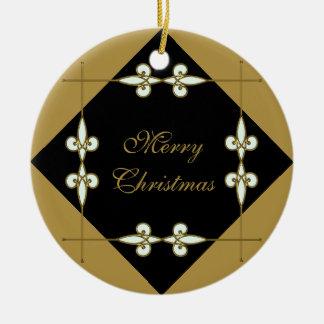 Het feestelijke Victoriaans Vintage Goud/de Zwarte Rond Keramisch Ornament
