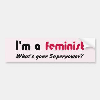Het feministische super roze van de machtsslogan bumpersticker