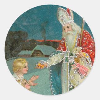 Het Fijne Art. van vintage Sinterklaas van Ronde Sticker