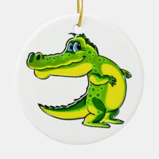 Het flirten Krokodil Rond Keramisch Ornament