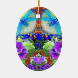 Het flirten Libellen & Paarse Bloemen door Sharles Keramisch Ovaal Ornament
