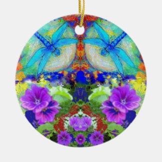 Het flirten Libellen & Paarse Bloemen door Sharles Rond Keramisch Ornament