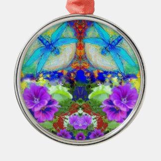Het flirten Libellen & Paarse Bloemen door Sharles Zilverkleurig Rond Ornament
