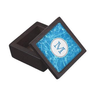 Het fonkelende Blauwe Monogram van het Water van Premium Decoratiedoosje