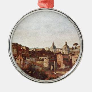 Het forum van Farnese wordt gezien tuiniert, Rome Zilverkleurig Rond Ornament