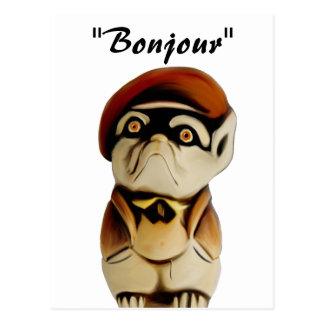Het Franse Briefkaart van Bonjour van de Hond