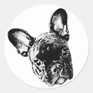 Het Franse Gezicht van de Buldog Ronde Sticker