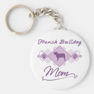 Het Franse Mamma van de Buldog Basic Ronde Button Sleutelhanger