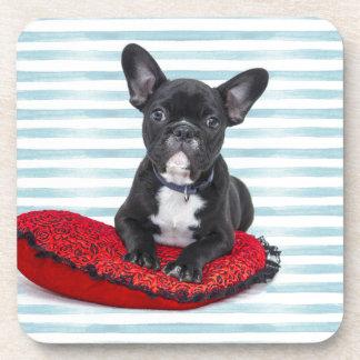 Het Franse Portret van het Puppy van de Buldog Onderzetter