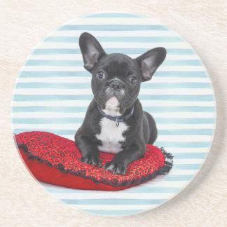 Het Franse Portret van het Puppy van de Buldog Zandsteen Onderzetter