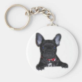 Het Franse Puppy van de Buldog Basic Ronde Button Sleutelhanger