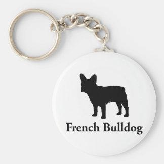Het Franse Silhouet van de Buldog Basic Ronde Button Sleutelhanger