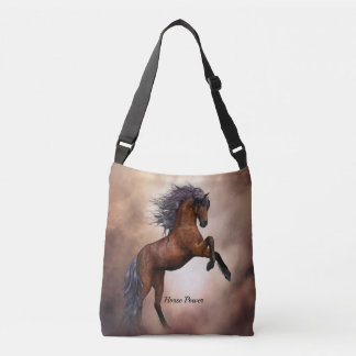Het Friesian bruine paard grootbrengen omhoog met Crossbody Tas