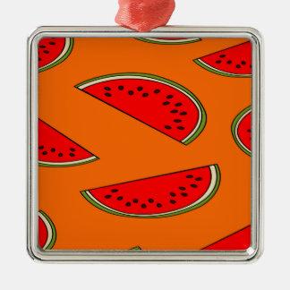 Het fruitpatroon van de meloen zilverkleurig vierkant ornament