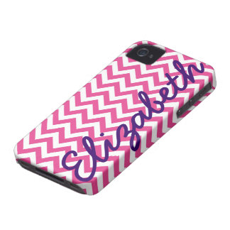 Het fuchsiakleurig Witte Patroon van de Chevron iPhone 4 Hoesje