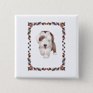 Het gebaarde Puppy van de Collie Vierkante Button 5,1 Cm