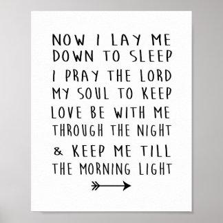 Het Gebed van de Bedtijd van het moderne Kind van Poster