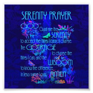 Het Gebed van de sereniteit in Blauw Foto Afdruk