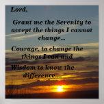Het Gebed van de sereniteit (zonsondergang) Poster