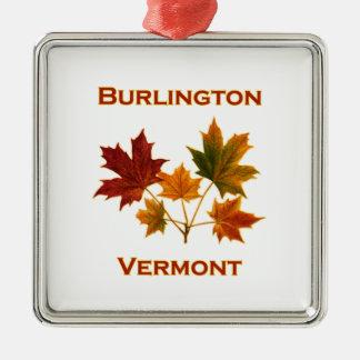 Het Gebladerte van de Herfst van Burlington Zilverkleurig Vierkant Ornament