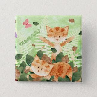 Het gebladerte van katten stoeit - speld kenteken vierkante button 5,1 cm