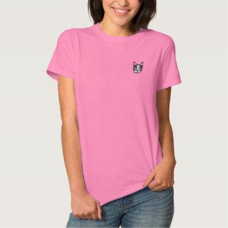 Het Geborduurde Overhemd van Boston Terrier Geborduurd Dames Poloshirt