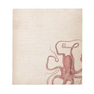 Het gedempte Zee nam de Roze Natuur van de Octopus Notitieblok