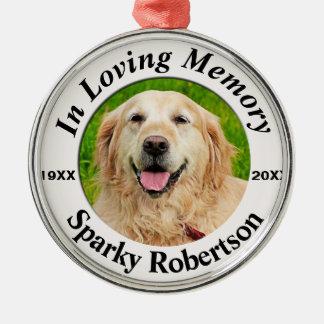 Het Gedenkteken van het huisdier Zilverkleurig Rond Ornament