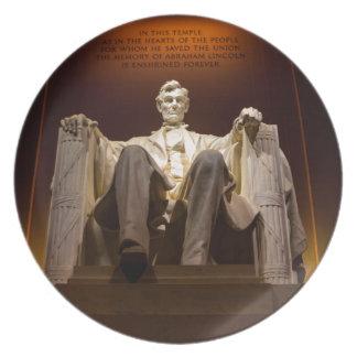 Het Gedenkteken van Lincoln bij Nacht - Washington Melamine+bord