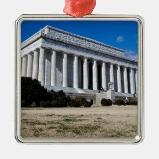 Het Gedenkteken van Lincoln in Washington DC Zilverkleurig Vierkant Ornament