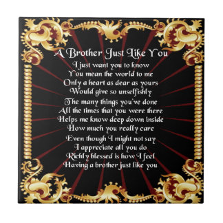 Het Gedicht van de broer - Zwart ontwerp Tegeltje